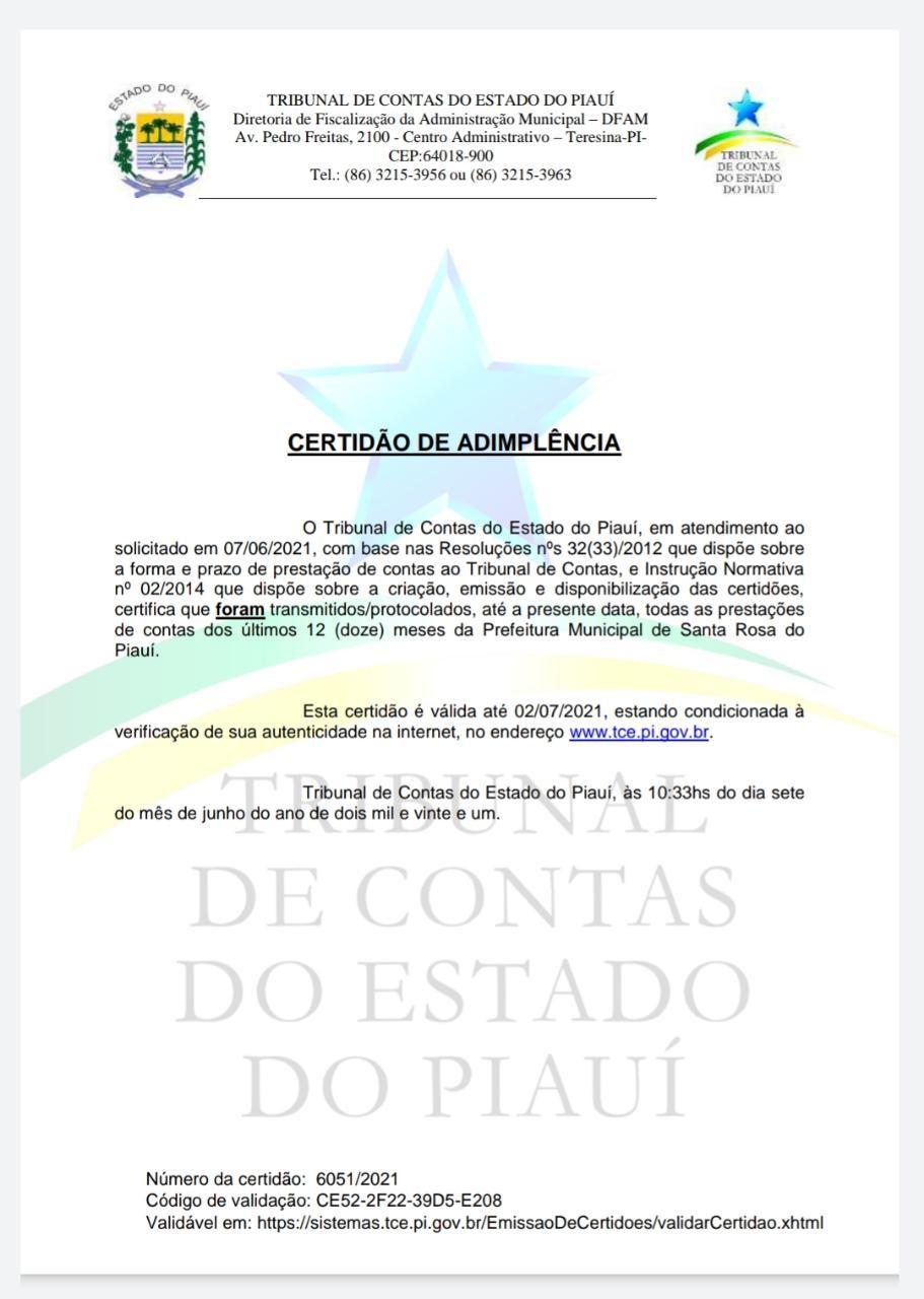 Contas do município de Santa Rosa do Piauí não foram bloqueadas pela TCE