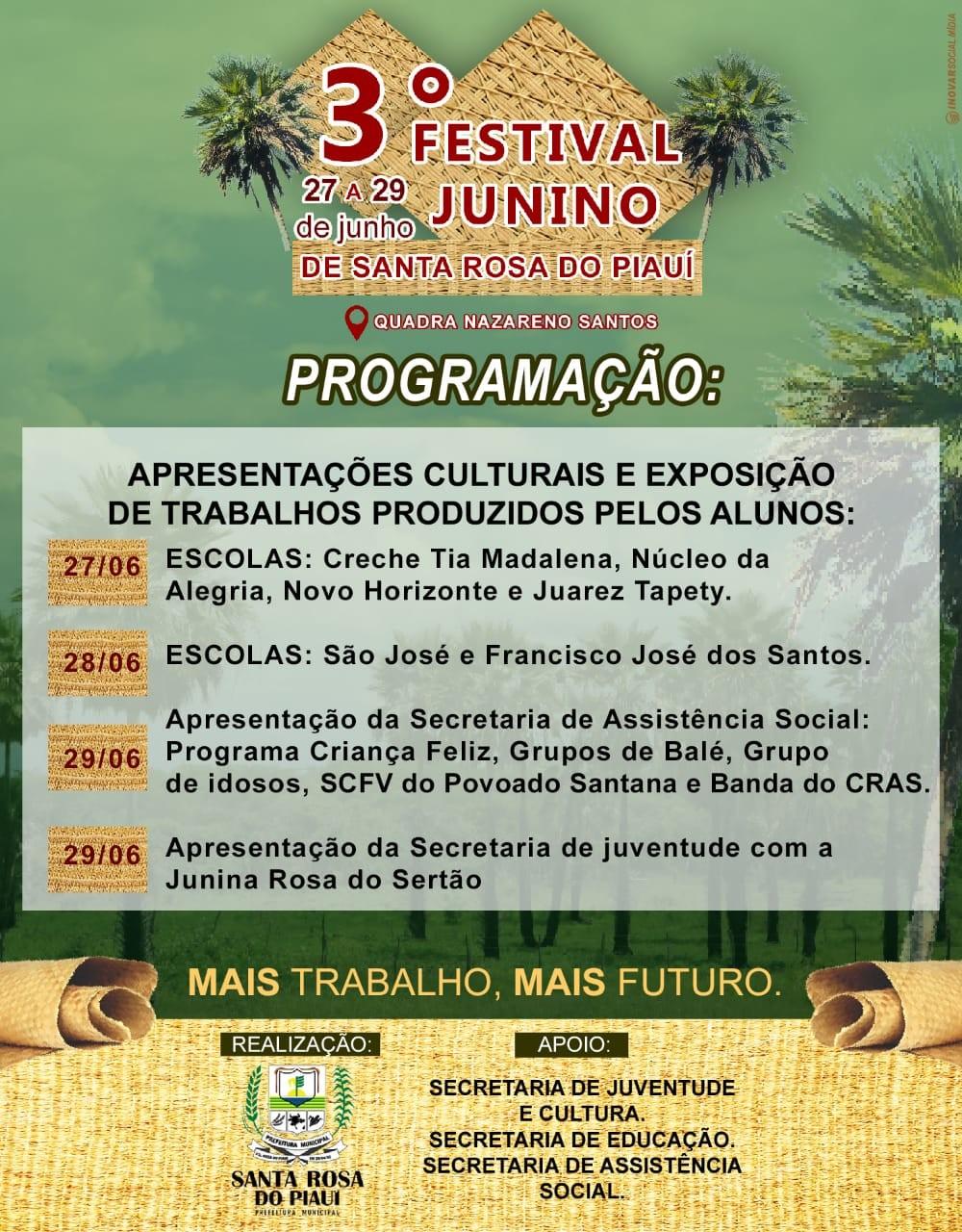 Prefeitura de Santa Rosa lança programação para 3° Festival Junino no município