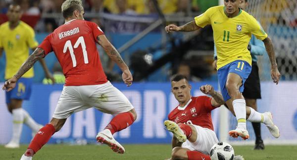Resumo do Jogo entre Brasil e Suíça, resultado 1 X 1